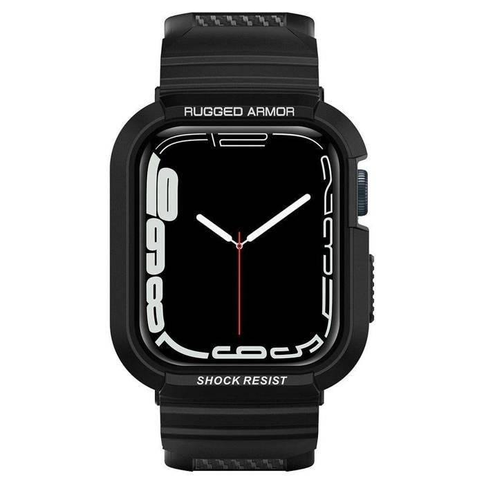 """Armband mit Gehäuse SPIGEN Robuste Rüstung """"Pro"""" Apple Watch 4 5 6 SE 44mm Schwarz Schwarz Büstenhalter"""