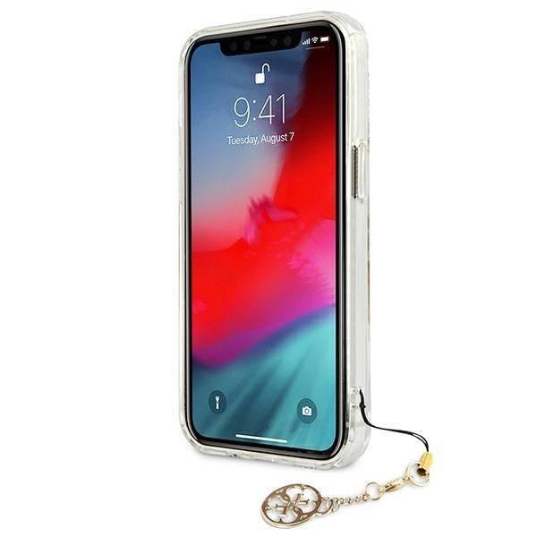 "Guess GUHCP13SKS4GGO iPhone 13 mini 5,4"" Transparentes Hartschalengehäuse 4G Gold Charms Kollektion"