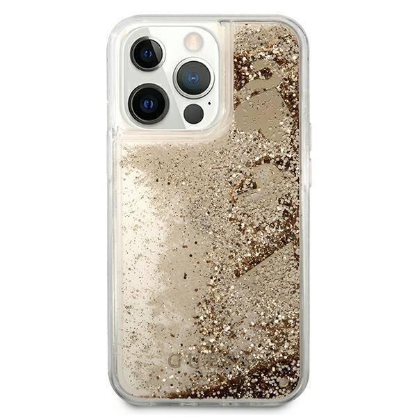 "Guess GUHCP13XGLHFLGO iPhone 13 Pro Max 6.7"" gold/gold Hartschale Glitter Charms"