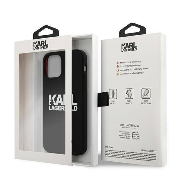 KARL LAGERFELD Apple iPhone 13 Mini Silikon Stack Logo Tasche Schwarz