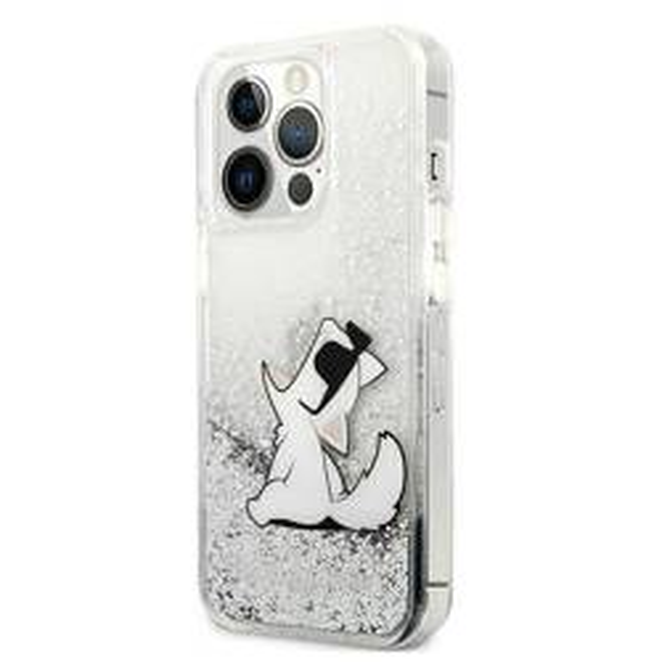 "Karl Lagerfeld KLHCP13LGCFS iPhone 13 Pro / 13 6.1"" silber/silberne Hartschale Liquid Glitter Choupette Fun"