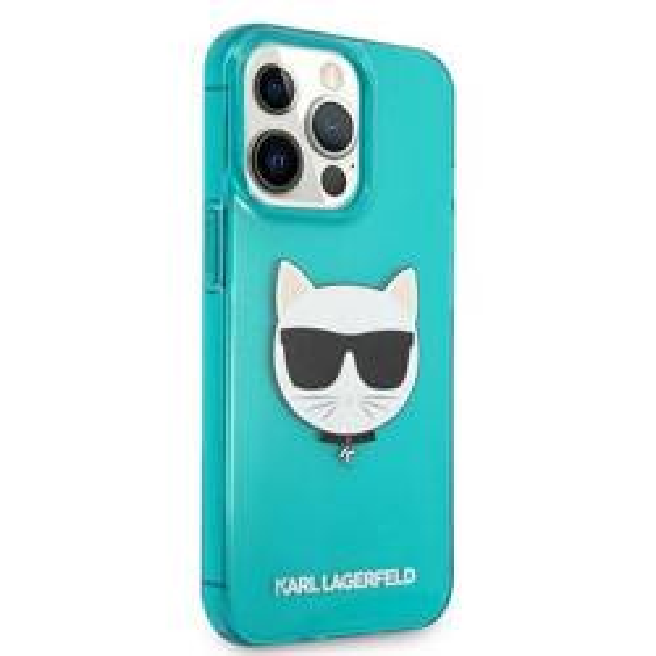 "Karl Lagerfeld KLHCP13XCHTRB iPhone 13 Pro Max 6,7"" blau/blau HartschalenHülle Glitter Choupette Fluo"