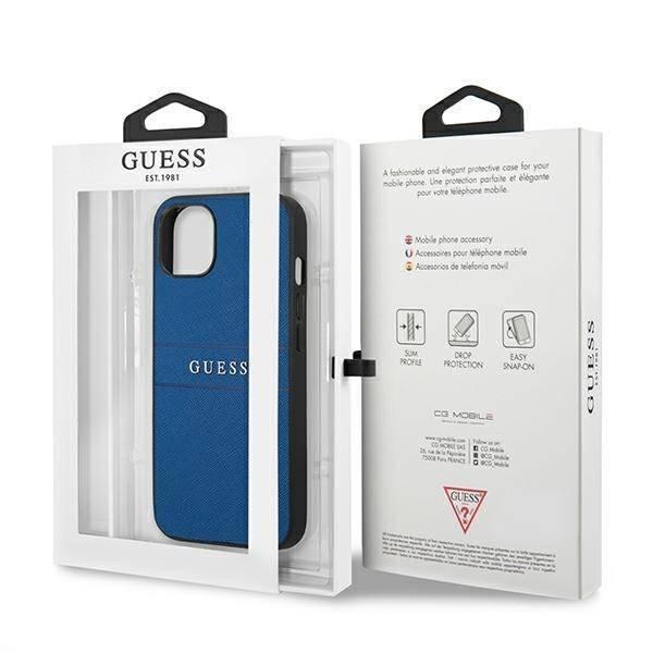 Etui GUESS Apple iPhone 13 Mini Saffiano Strap Niebieski Case