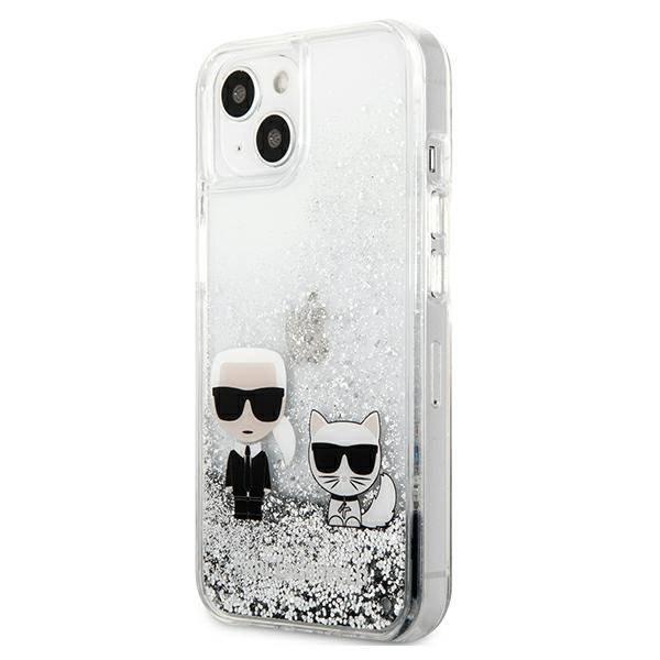 Etui KARL LAGERFELD Apple iPhone 13 Liquid Glitter Karl&Choupette Srebrny Hardcase