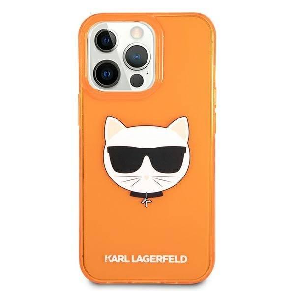 Etui KARL LAGERFELD Apple iPhone 13 Pro Max Glitter Choupette Fluo Pomarańczowy Hardcase