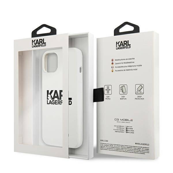 Etui KARL LAGERFELD Apple iPhone 13 Silicone Stack Logo Biały Case