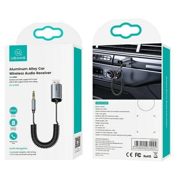 USAMS Adapter audio Bluetooth 5.0 USB-AUX szary/iron grey SJ504JSQ01 (US-SJ504)